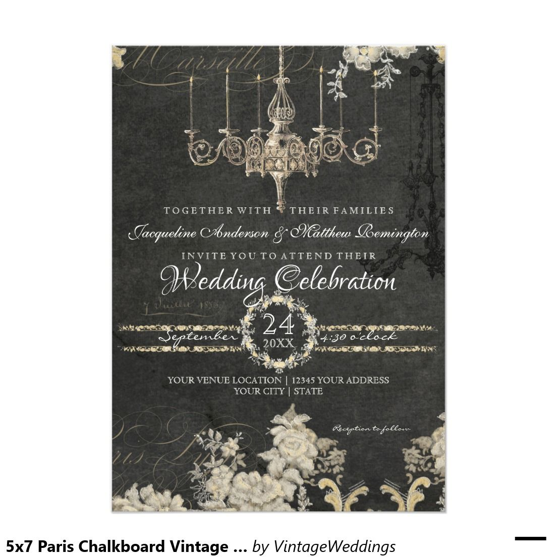 Romantic Paris Chalkboard Vintage Chandelier Typography Paper Invitation Card