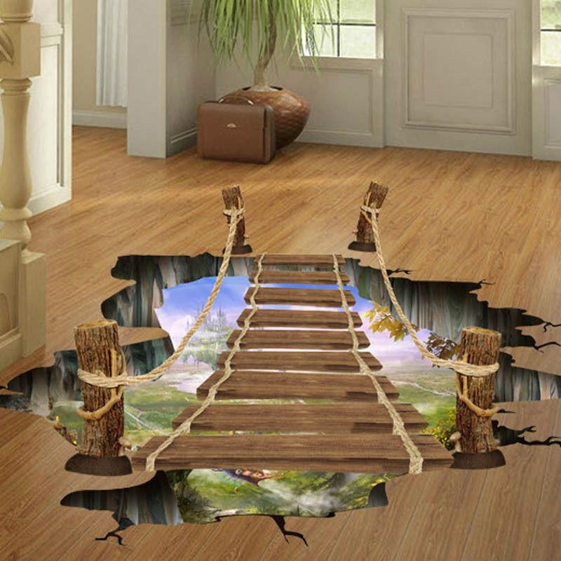 3d bridge floor wall sticker removable mural decals vinyl on wall stickers for home id=75310