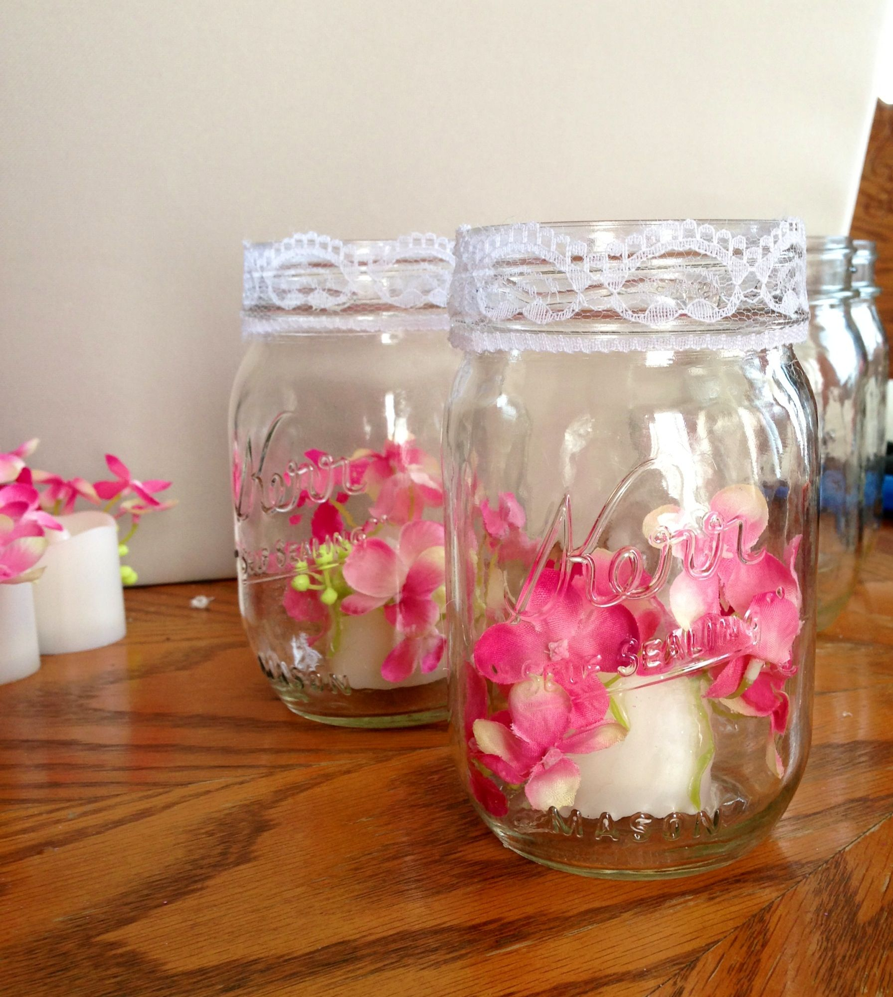 Wedding Table Decoration Ideas On A Budget: Wedding... Silk Flowers Hot Glued To Flame Less Candles