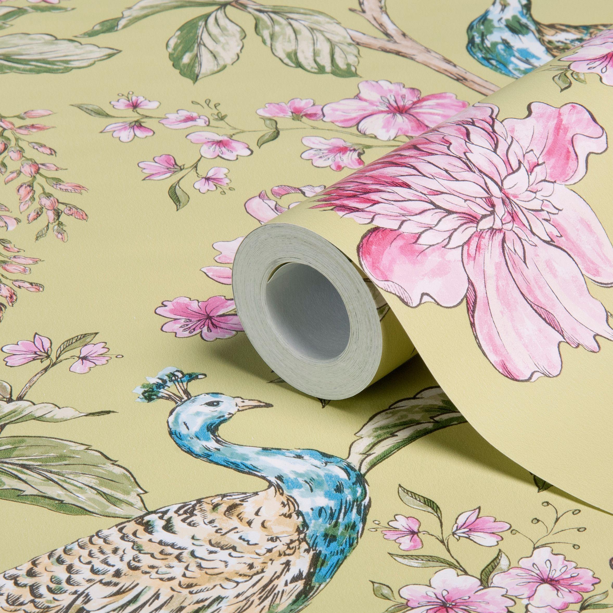 Hibiscus Citrus Peacock Floral Wallpaper Departments DIY