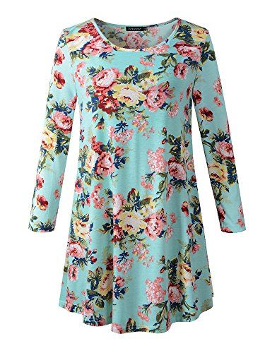 8260e9763 Veranee Women's Plus Size Swing Tunic Top 3/4 Sleeve Floral Flare T-Shirt  XX-Large 16-2 * Want additional info? Click on the image.