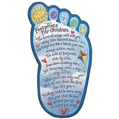 Footprints In The Sand Poem For Children Wall Decor Art 14 Inches