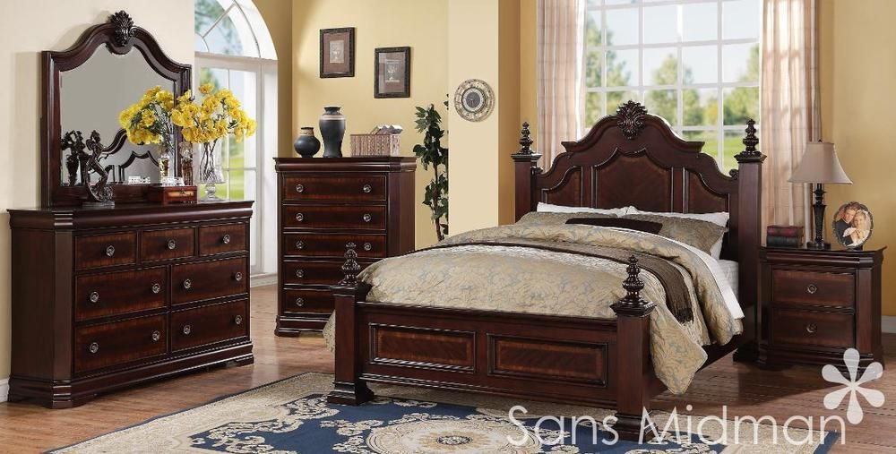 New Chanelle King Size Bed Set 5 Pc Traditional Cherry Wood