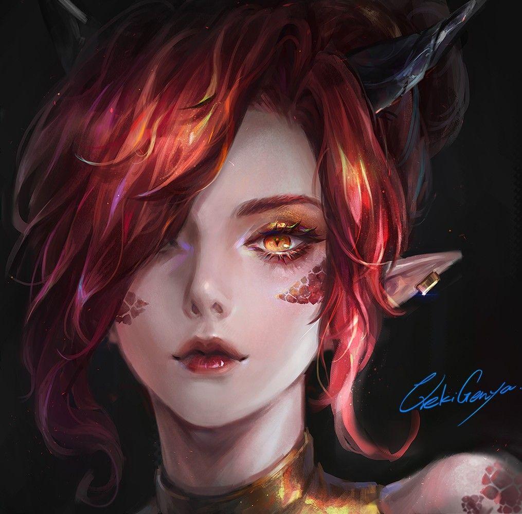 Animegirl Redhair Yelloweyes Dragon Girl Fantasy Girl Anime Red Hair