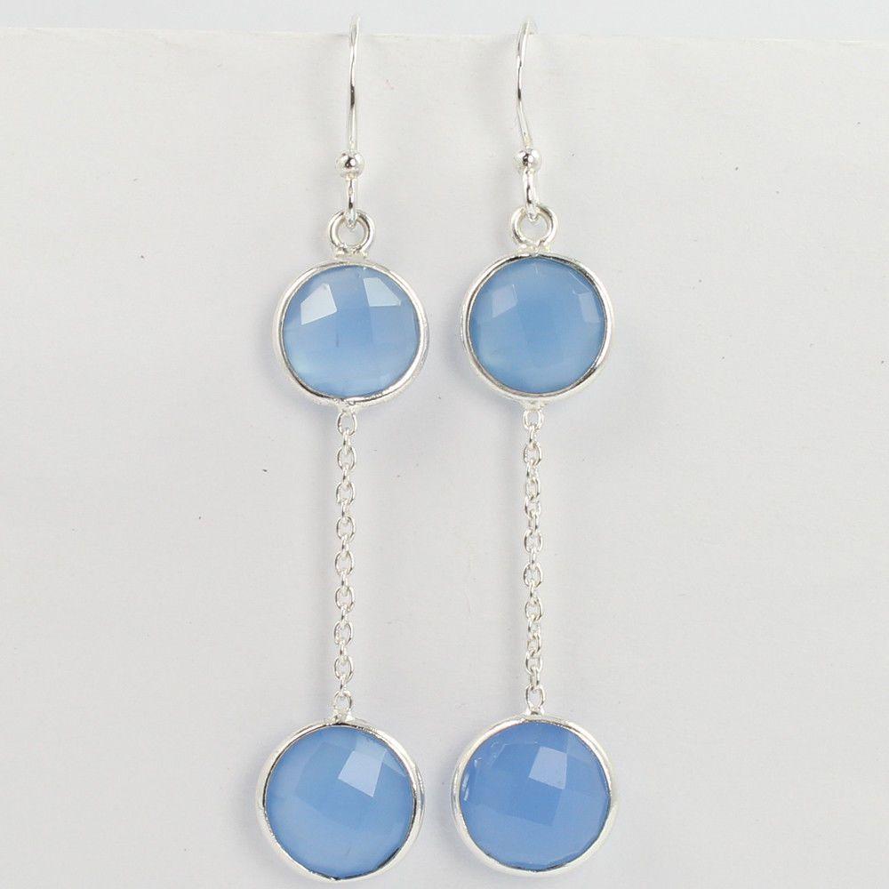 Indian Jewelry Earrings Real BLUE CHALCEDONY Round Gemstones 925 Sterling Silver #SunriseJewellers #DropDangle