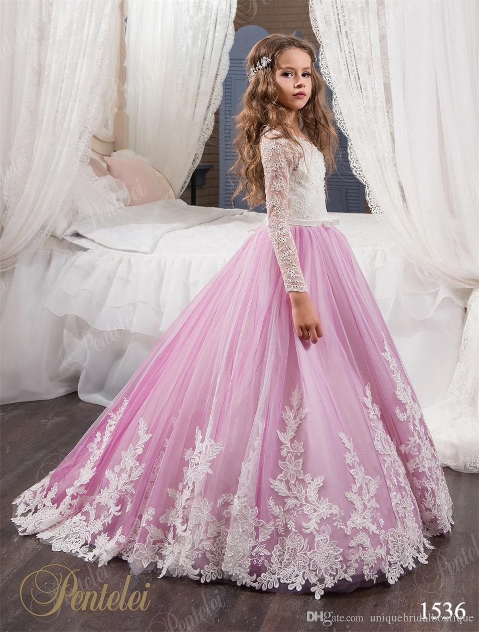 Flower Girls Dresses for Weddings 2017 Pentelei with Long Sleeves and Sweep  Train Appliques Tulle Flower Little Girls Gowns Light Purple eea48f9c57d0