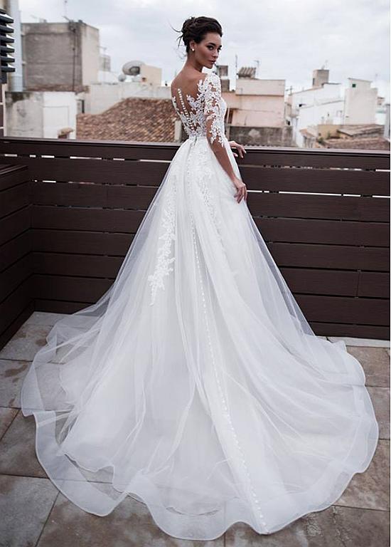 Photo of Vestidos de novia 2 en 1 de tul maravilloso y organza con pedrería, con falda desmontable y aplicaciones de encaje y perlas – Nuevas ideas