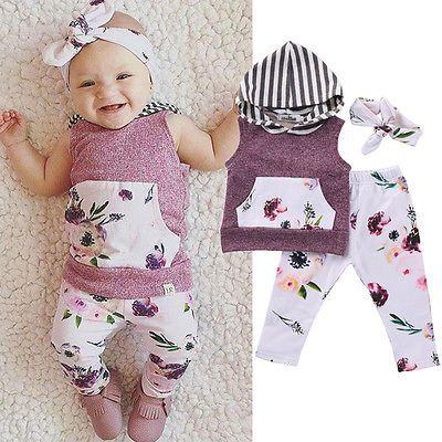 8bd9cd109 Newborn Infant Baby Girl Clothing Set Pullobver Hoodie Floral Vest ...