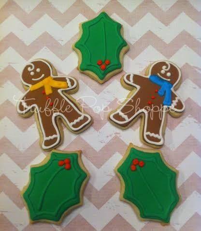 Gingerbread Man Cookies - Holly www.trufflepopshoppe.com