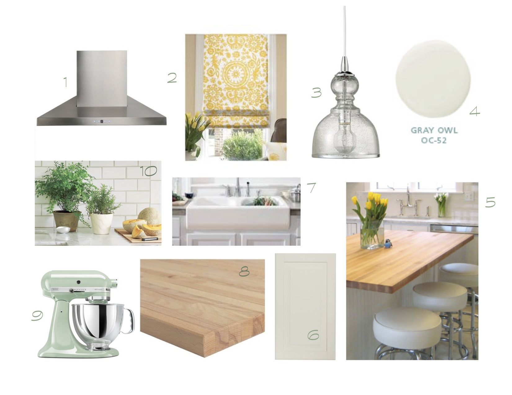 White, Cheerful Kitchen Kitchen Mood Board   White Cabinets U0026 Tile, Butcher  Block Counters