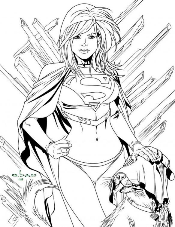 Printable coloring page of womn superhero Supergirl | Superheroes ...