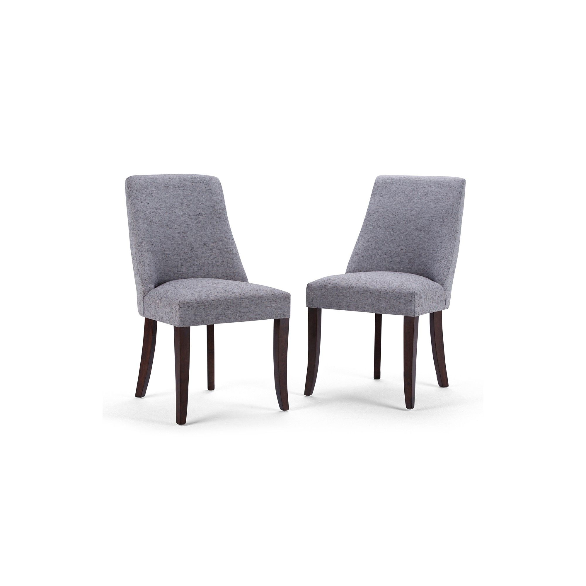 Set of 2 Haley Deluxe Dining Chair Gray Linen Look Fabric