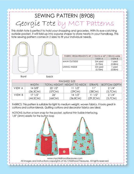 Market Tote Bag Pattern Grocery Sewing Pdf Patterns Purse Handbag Foldable B908 Bags