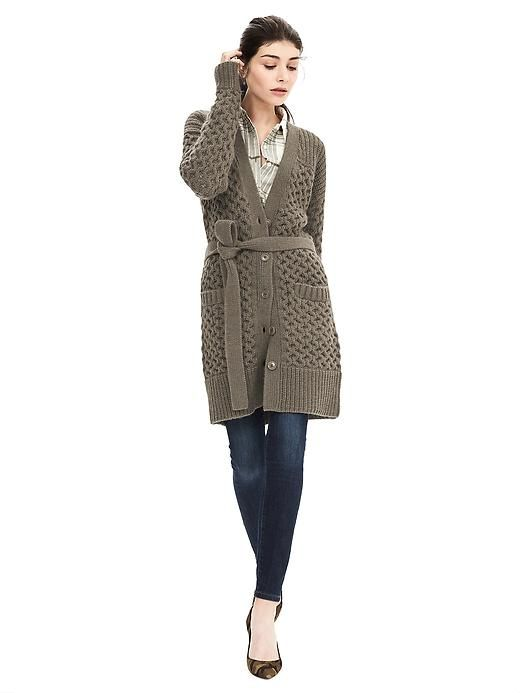 f00826f28 Cable-Knit Belted Long Cardigan
