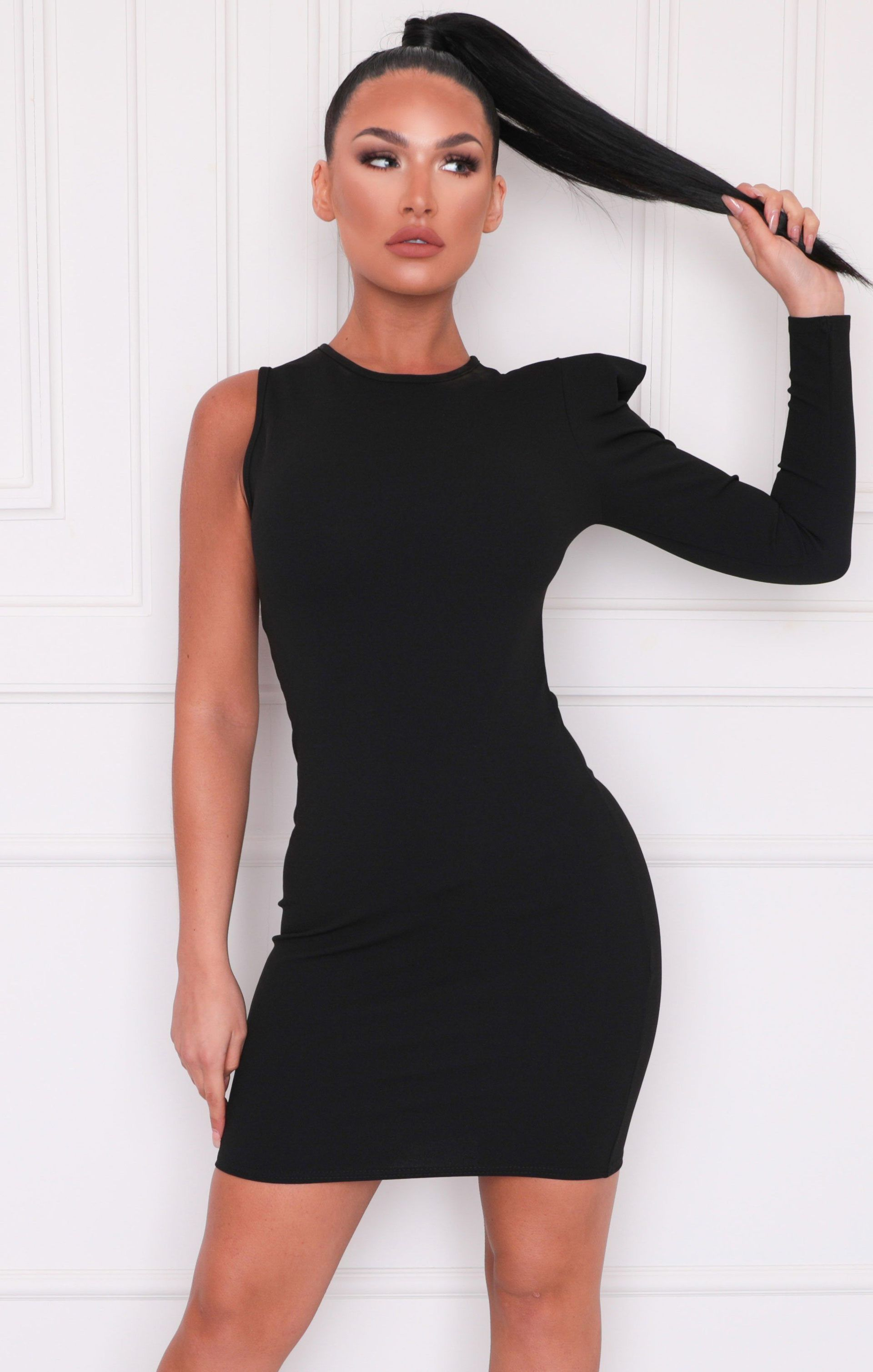 Black One Shoulder Padded Bodycon Mini Dress Unice In 2020 Dresses Power Dressing Shoulder Pads [ 3017 x 1920 Pixel ]