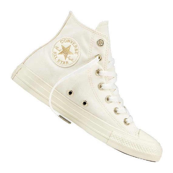 eb7659f9b677f Ivory White High Top Converse Wedding Light Gold Canvas w/ Swarovski ...