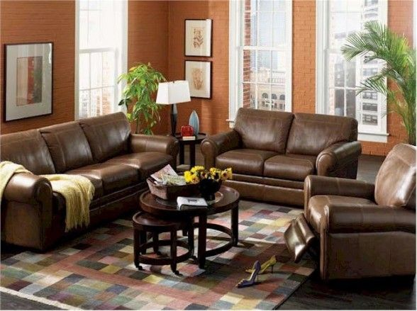 Living room interior design with brown leather sofa for Leather living room decorating ideas