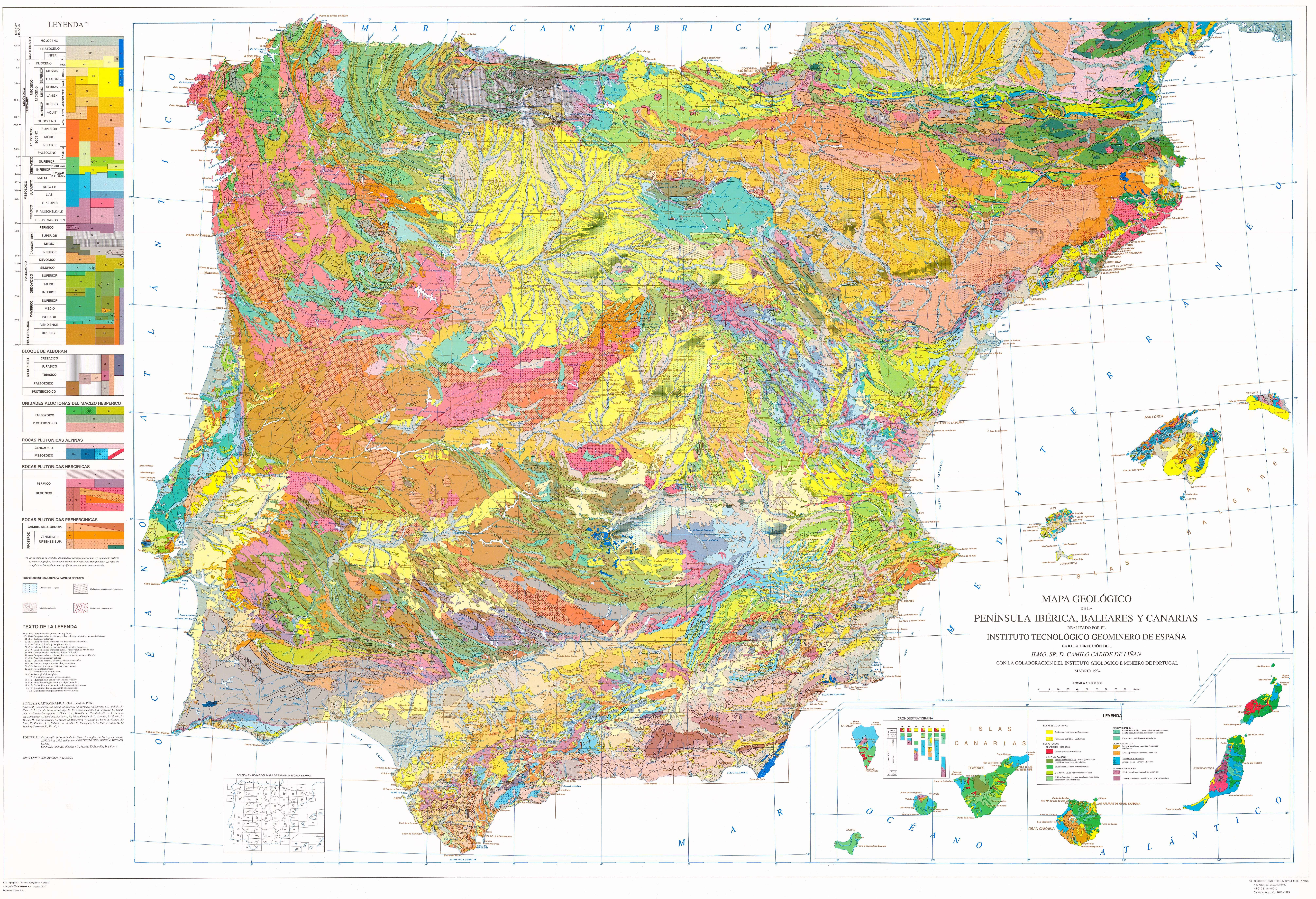 Geological Map Of Spain.Geological Map Of Spain 1994 Things Worth Learning Map Of Spain