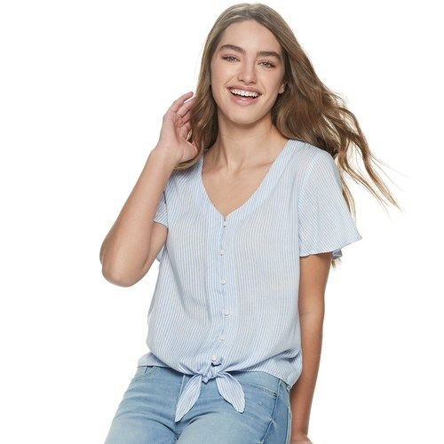 5f42137918c Juniors  SO® Button-Up Tie-Front Short Sleeve Top