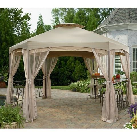 Garden Oasis Clayton Sears Garden Oasis Clayton Gazebo With Netting Hexagon Gazebo Gazebo Canopy Gazebo