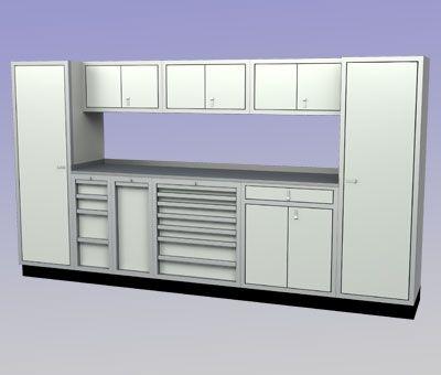 Wide With 7 Drawer Cabinet Premium Aluminum Garage Cabinets   Car Guy Garage