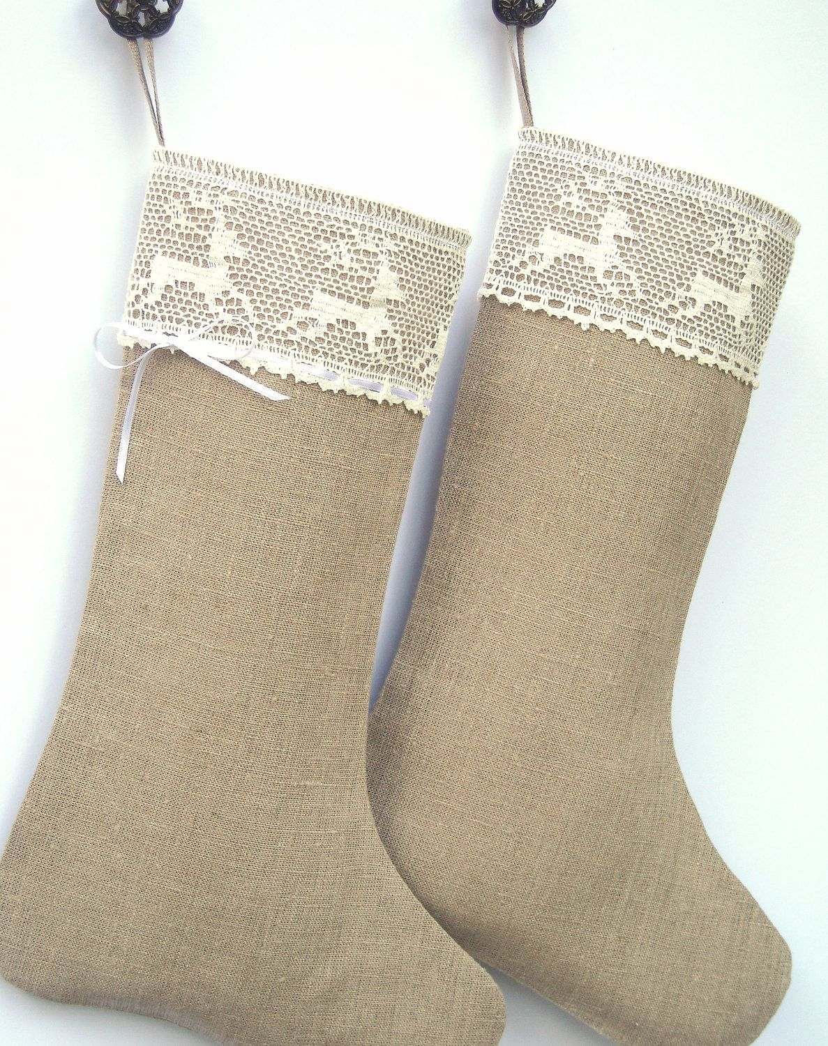 Scandinavian Christmas stocking - Linen Burlap stocking