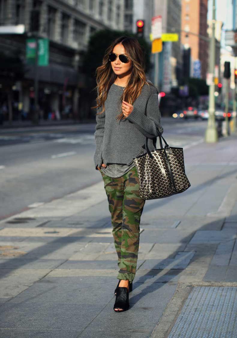 25 Formas Chic De Usar Un Pantalon Militar Pantalones Camuflaje Mujer Pantalones Militares Pantalones De Camuflaje