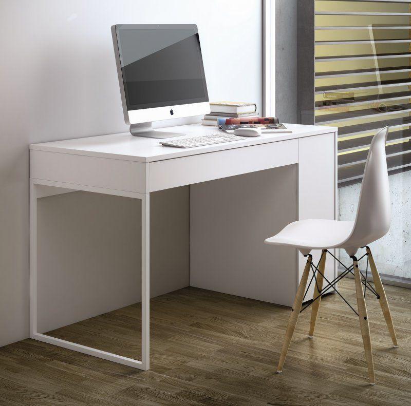 temahome prado bureau blanc mat avec 1 tiroir et 1 caisson. Black Bedroom Furniture Sets. Home Design Ideas