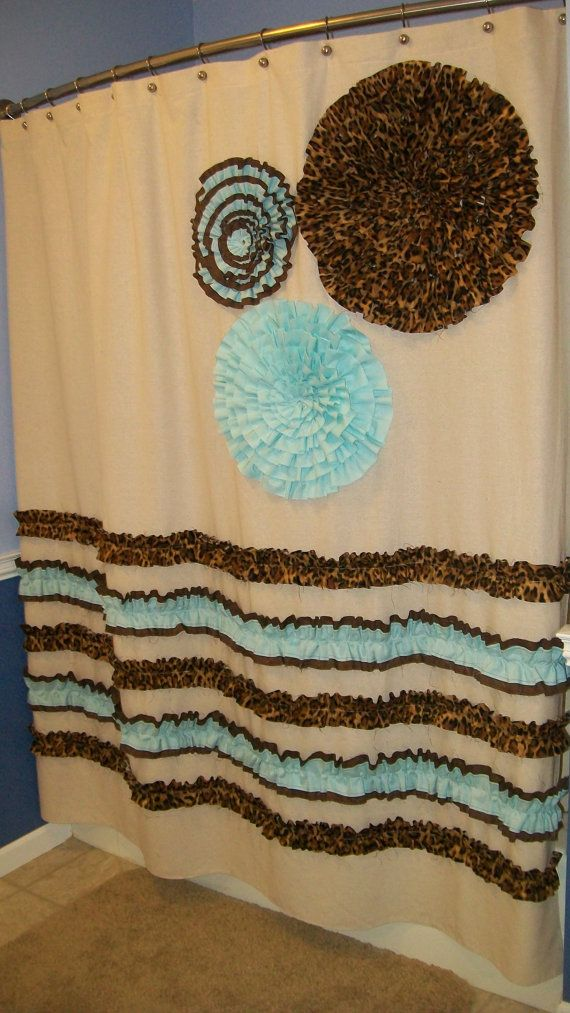 Wonderful Shower Curtain Custom Made Designer Fabric Ruffles Flowers Cheetah Leopard  Chocolate Brown Aqua Osnaburg Teal Natural Turquoise Cream Tan