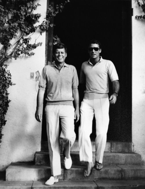 John F. Kennedy and Peter Lawford.