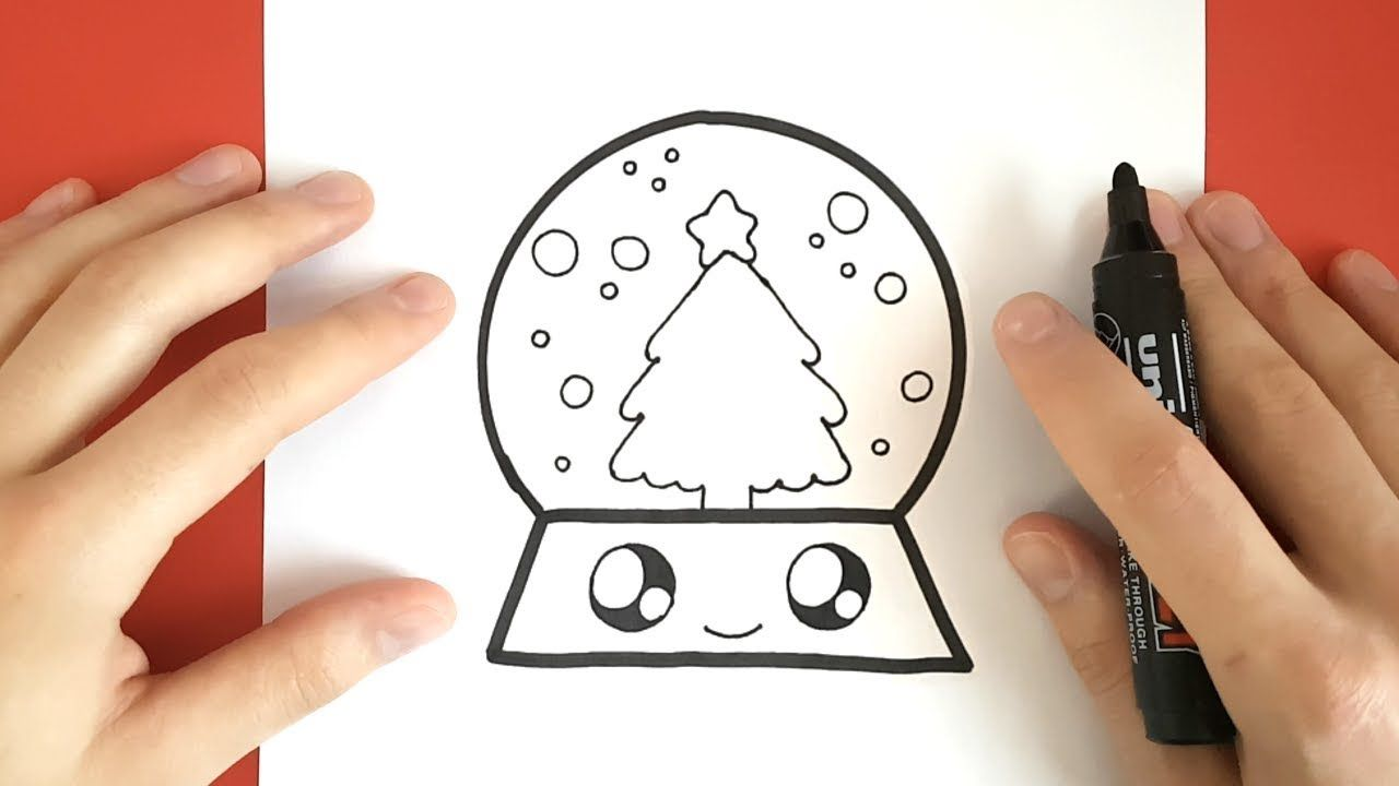 How To Draw A Snow Globe Cute And Easy Youtube Easy Christmas Drawings Easy Drawings Kawaii Drawings