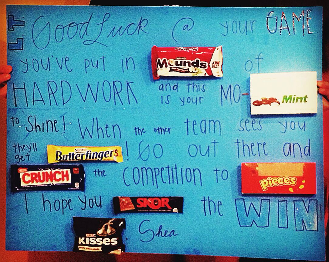 For Good Luck Pre Game Before The Game Football Candy Poster Candy Poster Good Luck Gifts Candy Bar Poster