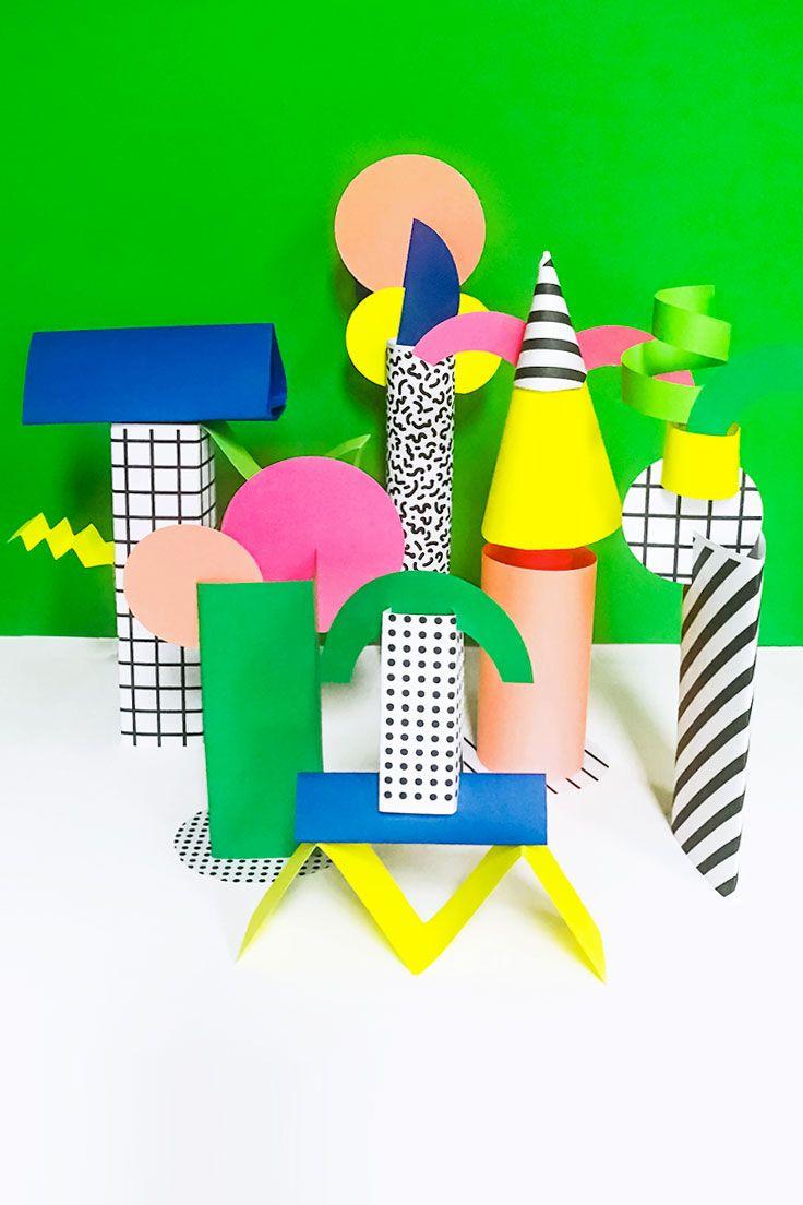 Make: Memphis Style Paper Sculptures for Kids | Diy paper, Memphis ...