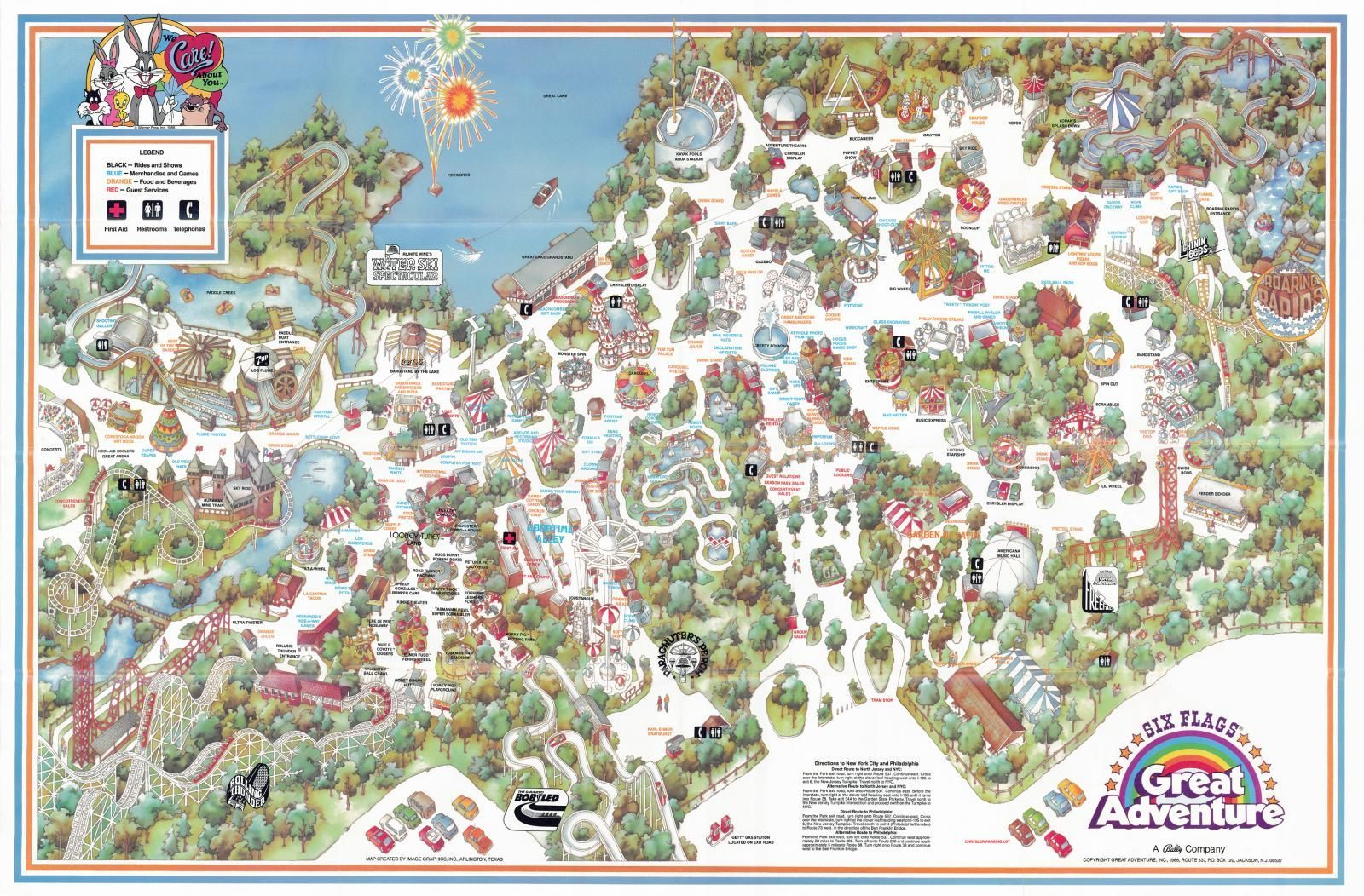 Six Flags Great Adventure Poster Map It Has The Ultra - Map of us amusement parks