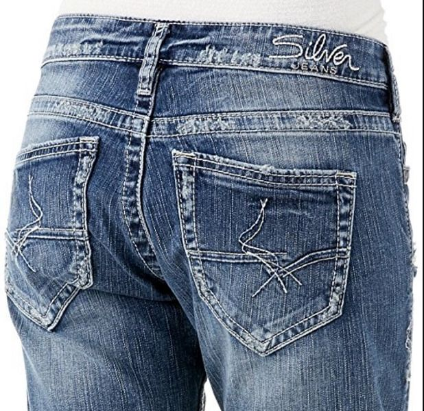SILVER JEANS SALE Buckle Mid Rise Sam Boyfriend Denim Stretch Jean Mid Shorts 27 #SilverJeans #CasualShorts