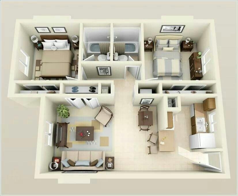 Small Apartments Apartment Floor Plans 2 Bedroom Apartment