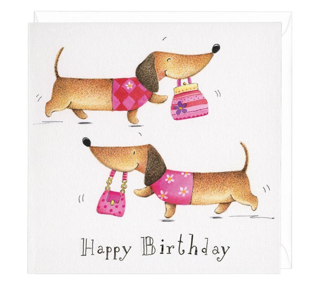 Dachshund Birthday Shopper Greeting Card Wiener Dogs Dachshund