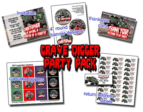 GRAVE DIGGER Monster Truck Birthday Party Pack Invitation