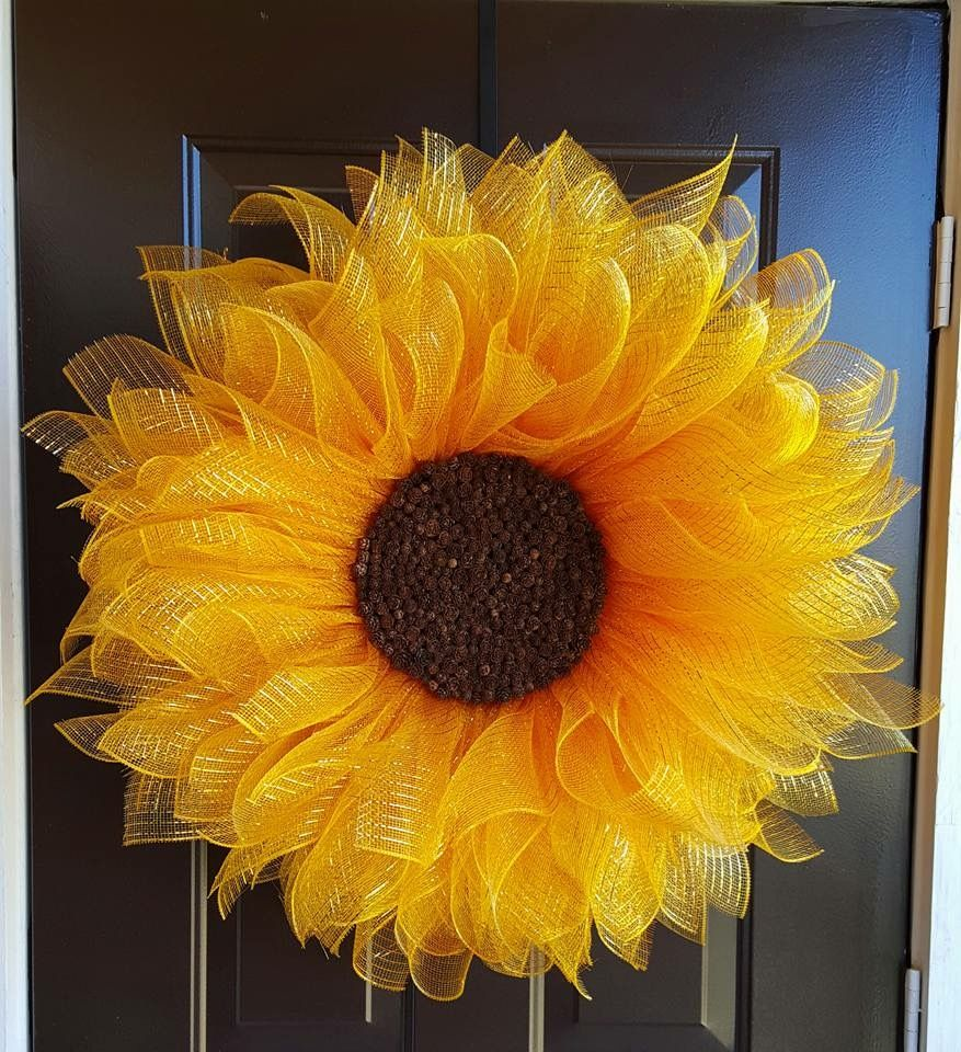 Mesh Sunflower Wreath Cute Ideas Wreath Crafts