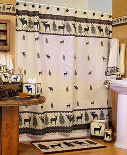 Woodlands Fabric Bathroom Shower Curtain Deer Moose Lodge Cabin Rustic Design Moose Lodge