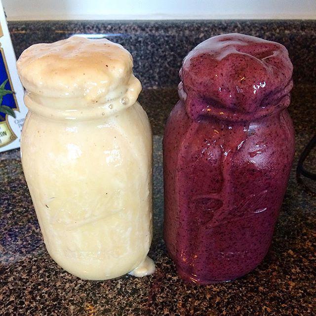 Overflowing smoothiessss 💖🌞 Mine has orange juice, frozen bananas, almond milk, water. His has a berry juice blend, frozen blueberries, frozen bananas, almond milk, water 💞 . . . . #vegan #vegans #smoothie #smoothies #veganfoodshare #vegansofig #veganfoodlovers #vegana #whatveganseat #raw #fruit #fit #veganism #rawtill4 #highcarb #veganfoods #veganfoodporn #veganfood#plantbased#vegansofinstagram  #veganlifestyle #crueltyfree #vegangirl#veganforlife #vidavegana #healthy #govegan  Yummery…
