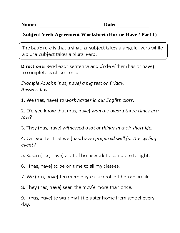 Has Or Have Subject Verb Agreement Worksheet Englishlinx Board