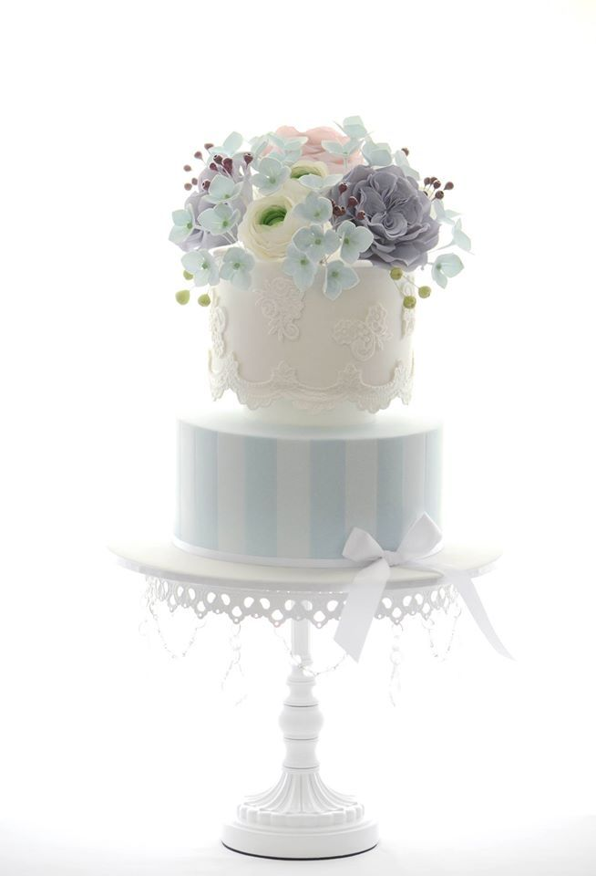 Pastel Flowers & Stripes Cake