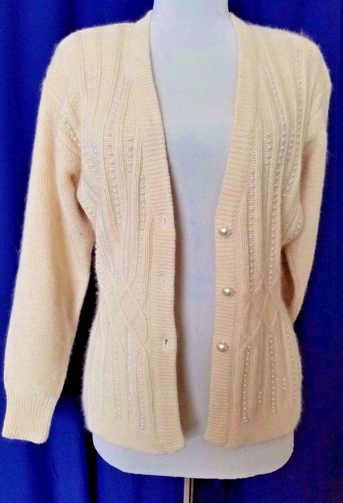 Sarah Taylor Cardigan Silk Angora Ivory Beads Embellished Sweater ...