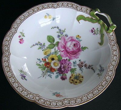 Antique-Helena-Wolfsohn-Dresden-Hand-Painted-9-Bowl-Bow-Handle-Floral-Sprays