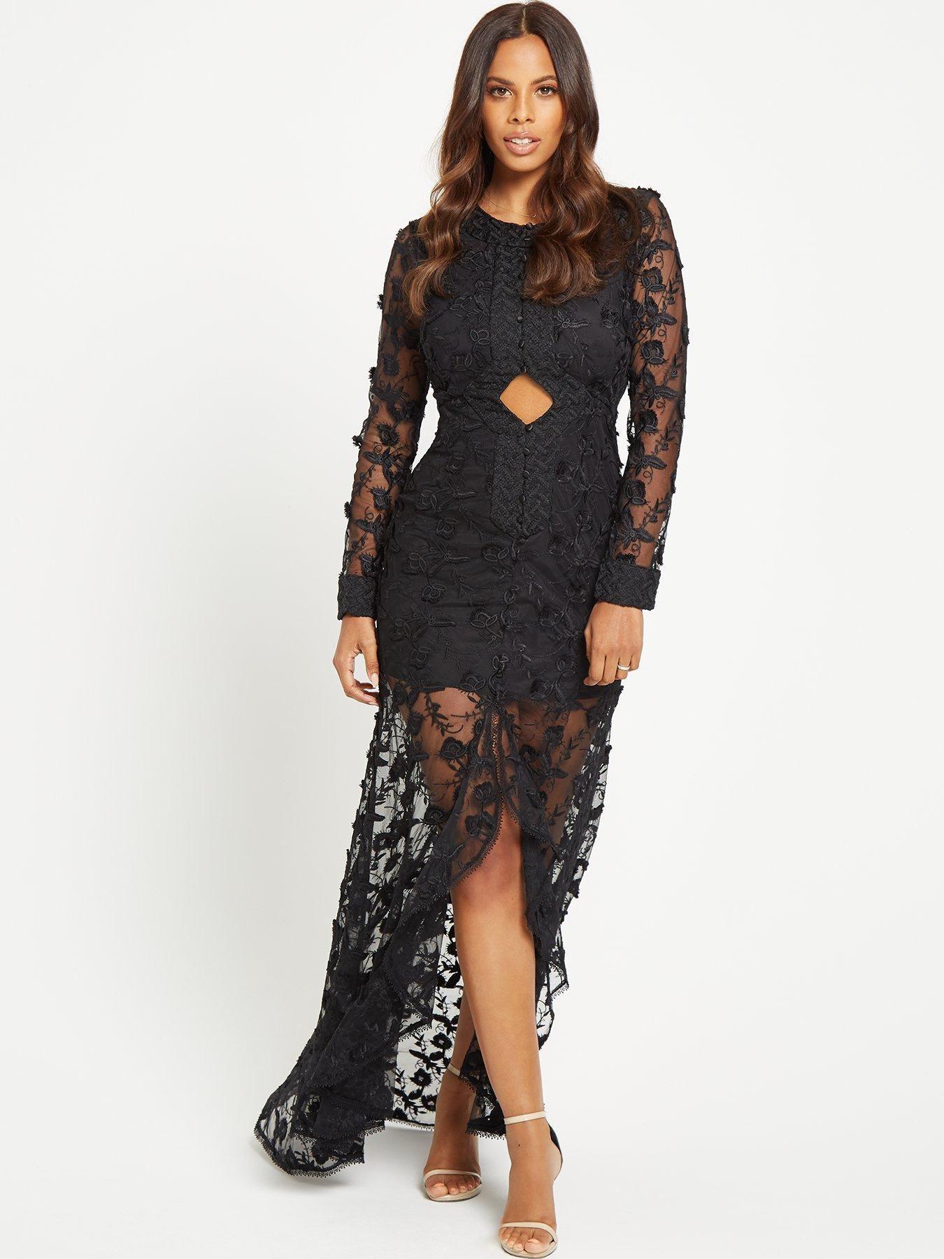cd981da22 Black Lace Long Sleeve Fishtail Maxi Dress – Little Black Dress ...