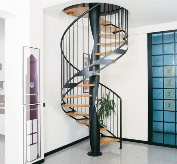 Best Space Saver Spiral Staircase With Wrought Iron And Wooden 400 x 300
