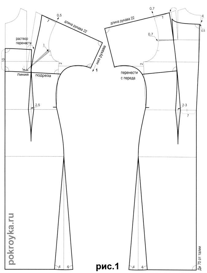 Выкройка платья с короткими цельнокроеными рукавами | викройка ...