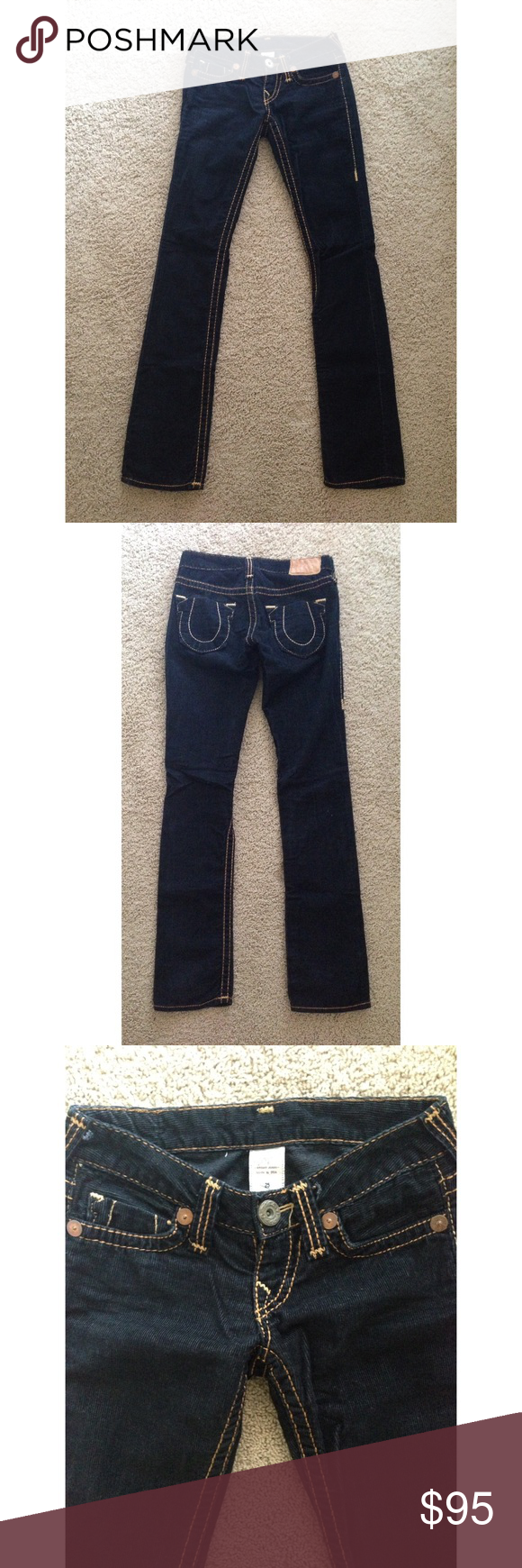Black corduroy true religion pant in size 25 Part of the buy one get an item half off deal.  Half off deal will be applied to lower price item.  Black true religion Corduroy pant in size 25.  Brand new never been worn. True Religion Pants Straight Leg