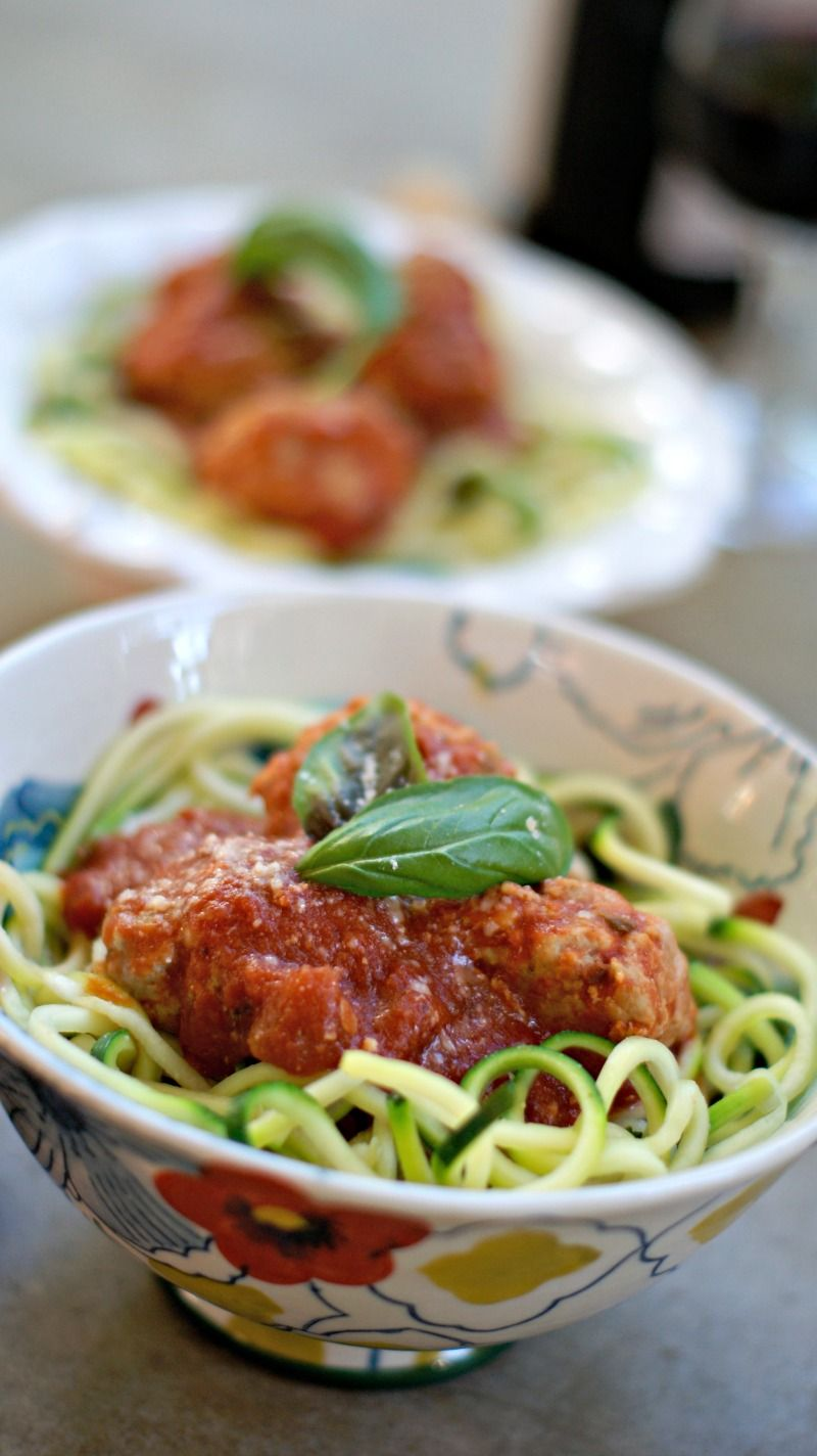 Zoodles zucchini noodles and meatball marinara make a for Zucchini noodles and meatballs recipe